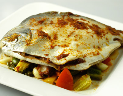 Oven Baked Fish With Spicy Harissa