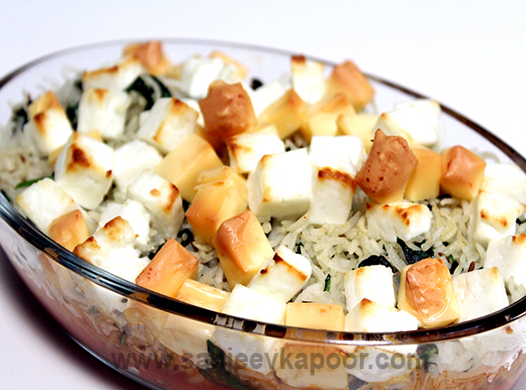 Palak Paneer and Rice Casserole