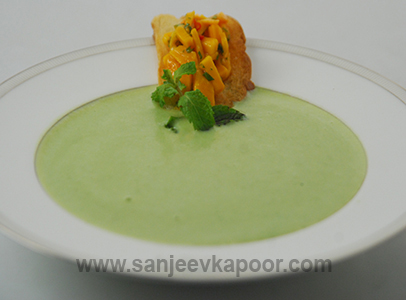 Peas and Potato Soup with Salsa