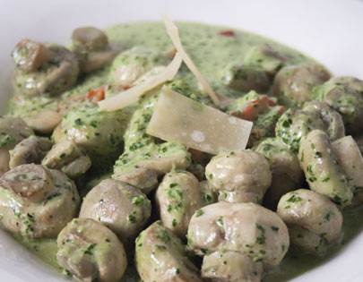 Pesto Mushrooms
