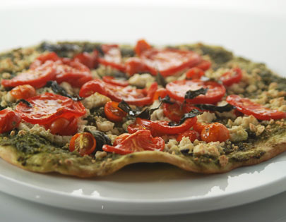 Pesto Pizza With Chenna And Tomatoes