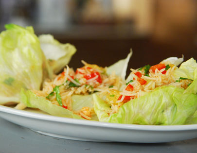 Pineapple And Rice In Lettuce Wraps