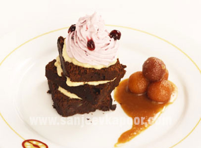 Plum Cake Shahi Tukda With Blueberry Cream