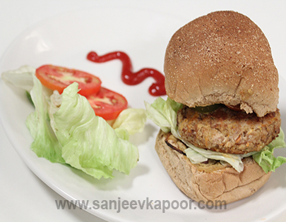 How to make Quinoa and Feta Burger, recipe by MasterChef Sanjeev ...