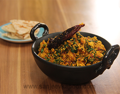 Red Pumpkin aur Palak Sabzi