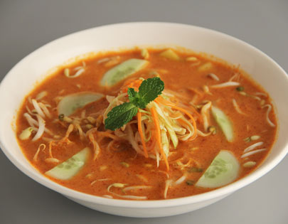 Rice Noodle Soup with Red Curry