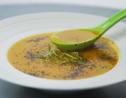 How To Make Roasted Carrot And Corn Soup Recipe By Masterchef Sanjeev Kapoor