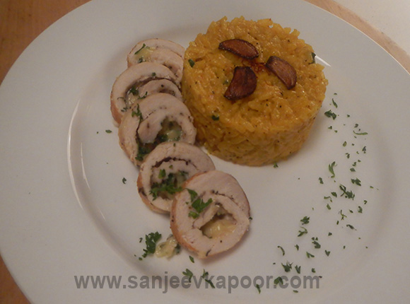Saffron Risotto with Stuffed Chicken