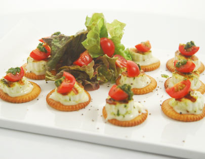 How to make savoury biscuit and paneer canapes recipe by for Canape dessert ideas