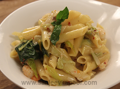 Shrimp, Leek and Spinach Pasta