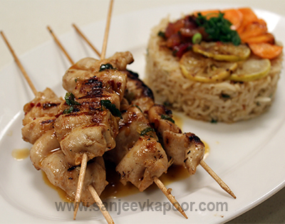 Skewered Chicken with Brown Rice