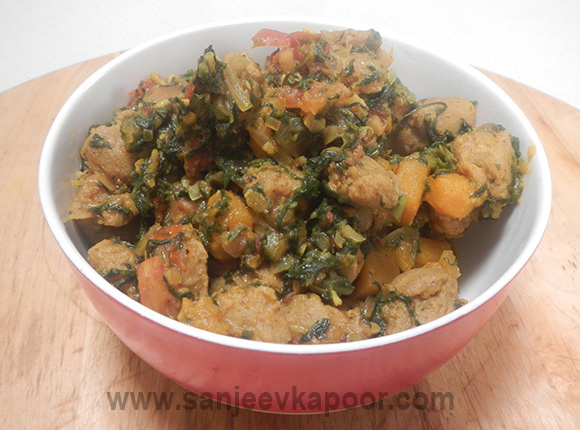 Soya Nuggets with Greens