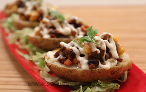 Spiced Black Bean Stuffed Baked Potatoes