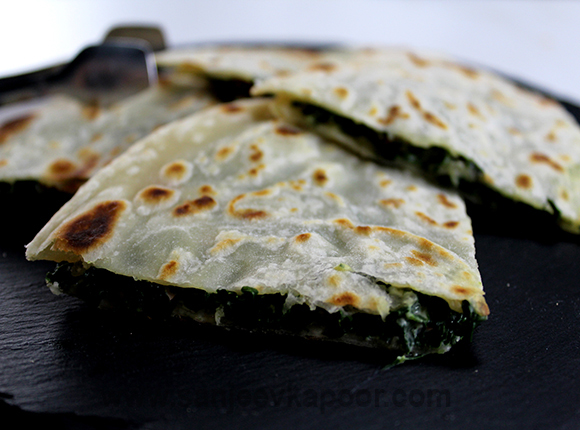 How to make Spinach and Feta Quesadillas, recipe by MasterChef Sanjeev ...