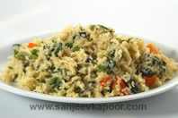 Spinach Soy Milk Pulao