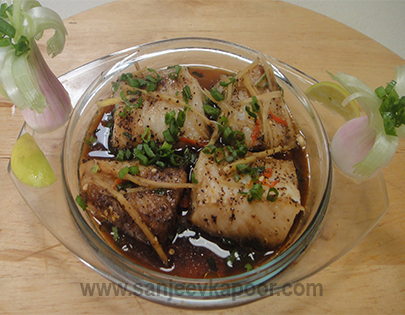 How to make steamed fish recipe by masterchef sanjeev kapoor steamed fish recipe card forumfinder Gallery