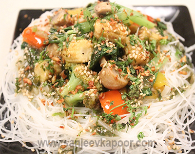 Stir Fried Veggies with Glass Noodles in Sweet Cor