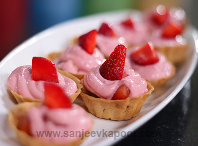 Strawberry Shrikhand Fruit Tarts