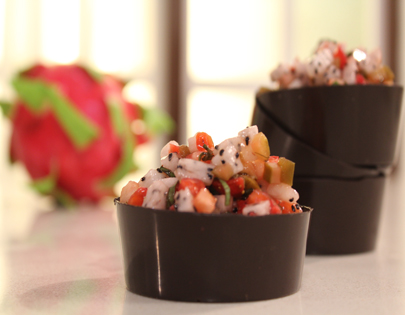 Strawberry and Dragon Fruit Salsa in Chocolate Cup