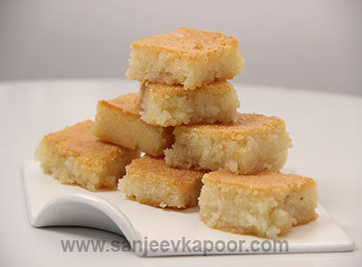 How to make suji and coconut barfi recipe by masterchef sanjeev kapoor forumfinder Gallery