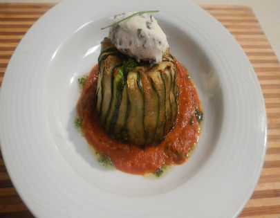 Tricolour Quinoa Timbale with Tomato Sauce