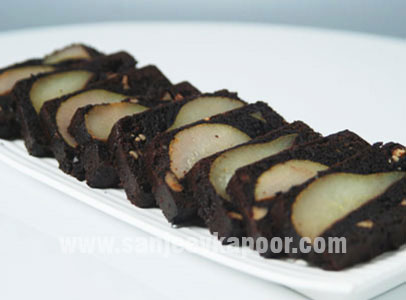 Upside Down Pear Brownies