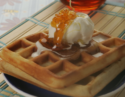 Waffles with Honey and Ice Cream