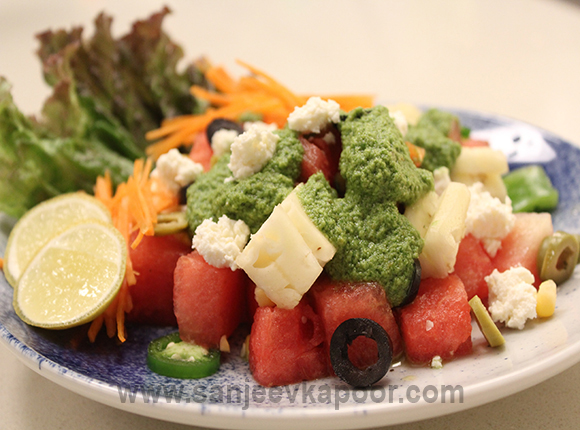 Watermelon and Crumbled Cheese Salad
