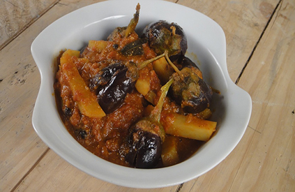 Brinjal and Potato Rassa