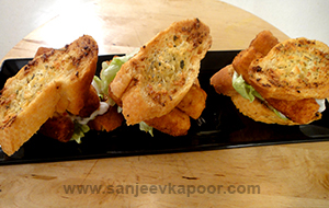 Garlic Bread Fish Finger Sandwich