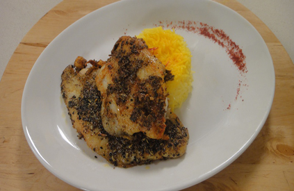 Panch Phoron Crusted Basa with Saffron Rice