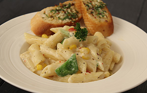 Penne in White Sauce with Garlic Bread