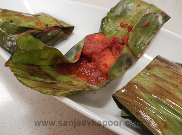 Peri Peri Fish in Banana Leaf
