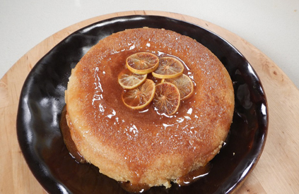 Steamed Semolina Cake with Lemon Syrup
